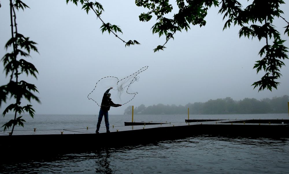 With fog enveloping Lake Springfield, Springfield resident Aaron Taylor, a fisherman who competes in national fishing tournaments, flings a cast net from a dock at Lindsay Bridge boat launch on Wednesday morning, April 27, 2016. Taylor was using the net to catch shad, which he would use as bait before heading out in his 19' flat-bottom fishing boat in search of catfish now on the move around the lake because they are spawning. Last year, Taylor said he caught a blue catfish on Lake Springfield weighing in at 76 pounds. David Spencer/The State Journal-Register
