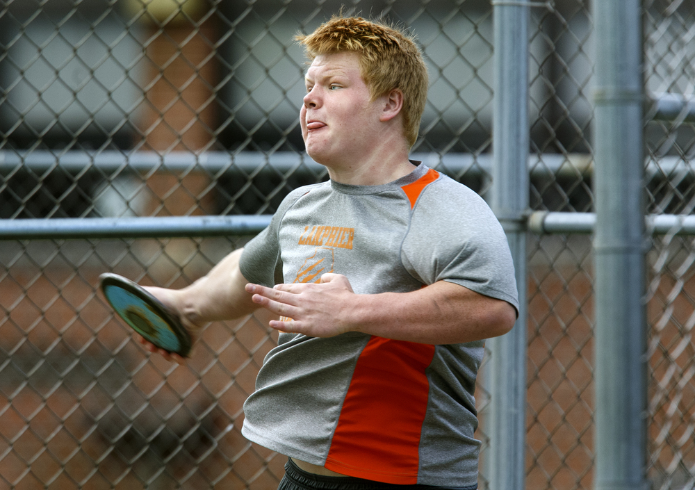 Lanphier's Austin Scheib wins the discuss with a throw of 137.10-feet during the Boys City Track Meet at Memorial Stadium Tuesday, May 3, 2016. Ted Schurter/The State Journal-Register