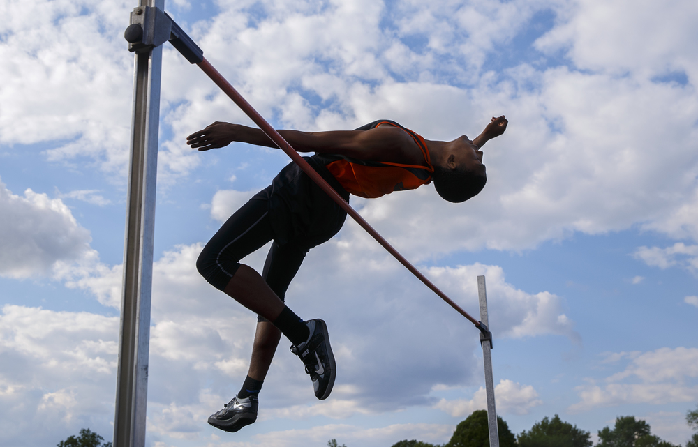 Lanphier's A'Jonte Lee and his teammate Kendrick Griffin, not pictured, each cleared 6 feet, 4 inches in the high jump to place 1-2 during the Boys City Track Meet at Memorial Stadium Tuesday, May 3, 2016. Ted Schurter/The State Journal-Register