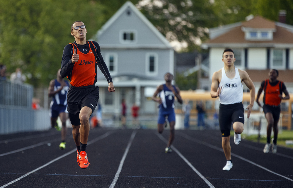 Lanphier's Dearis Herron wins the 400 meter dash during the Boys City Track Meet at Memorial Stadium Tuesday, May 3, 2016. Ted Schurter/The State Journal-Register