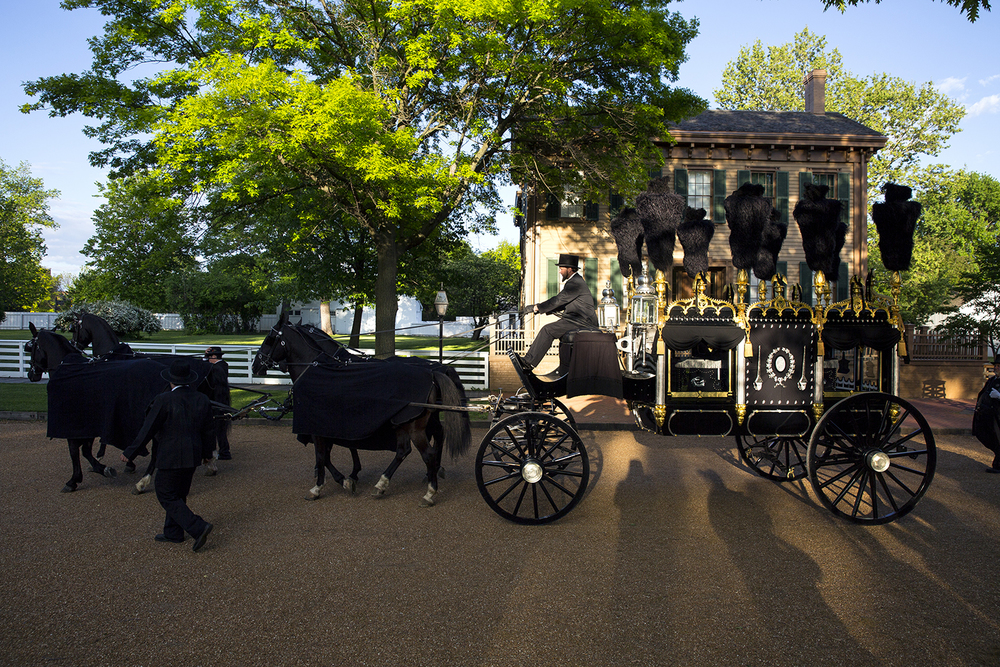 The authentically recreated Lincoln funeral hearse passes the Lincoln Home during a commemoration of the 151st anniversary of Abraham Lincoln's funeral Wednesday, May 4, 2016. Rich Saal/The State Journal-Register