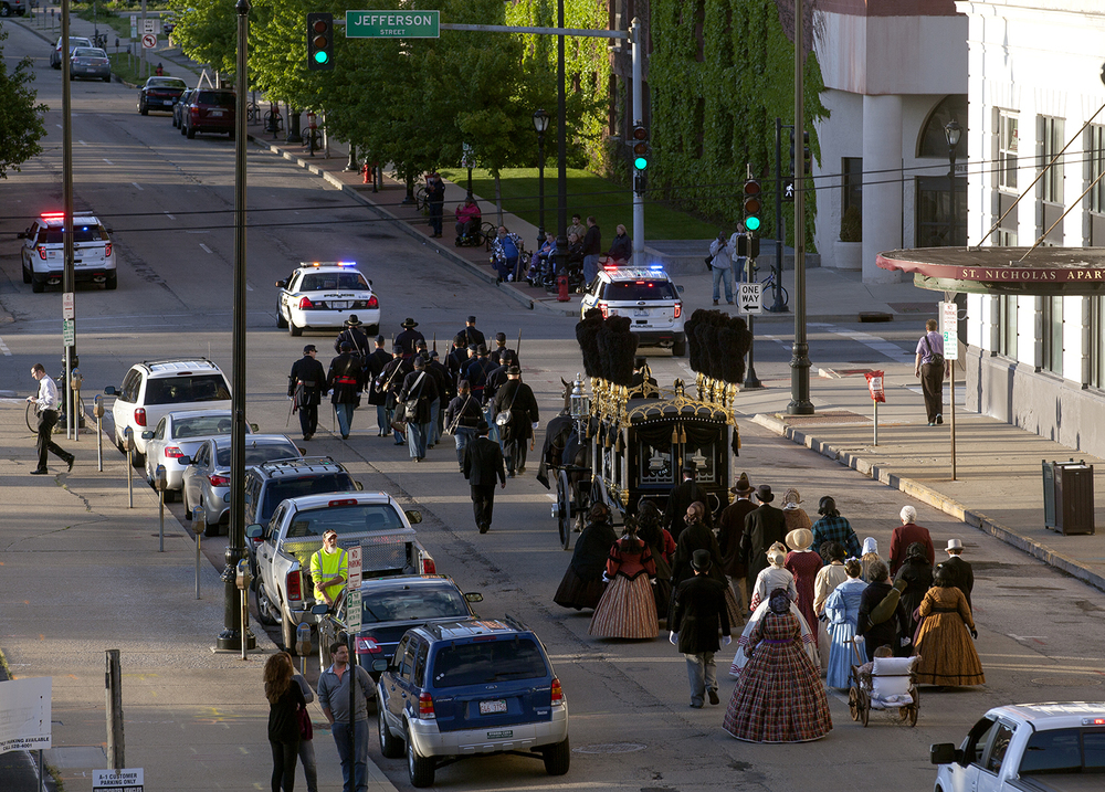 A procession commemorating the 151st anniversary of Abraham Lincoln's funeral moves north on Fourth Street on its way to Oak Ridge Cemetery Wednesday, May 4, 2016. Rich Saal/The State Journal-Register