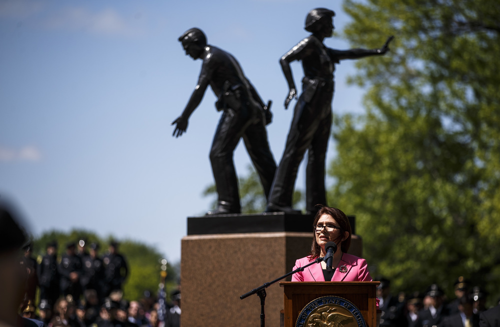 Lt. Gov. Evelyn Sanguinetti speaks in front of the Illinois Police Officers Memorial during the 31st annual Police Officer Memorial Day on the grounds of the Illinois State Capitol, Thursday, May 5, 2016, in Springfield, Ill. Justin L. Fowler/The State Journal-Register