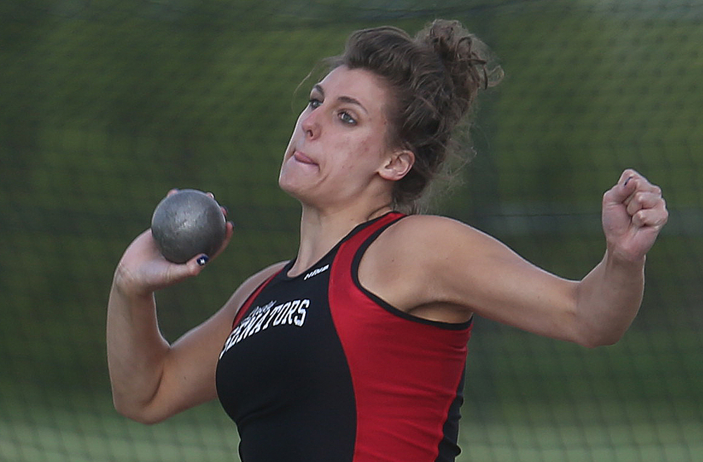 Springfield High School's Nicole Swehla came in third overall in the shot put with a heave of 34-04.00 feet. David Spencer/The State Journal-Register
