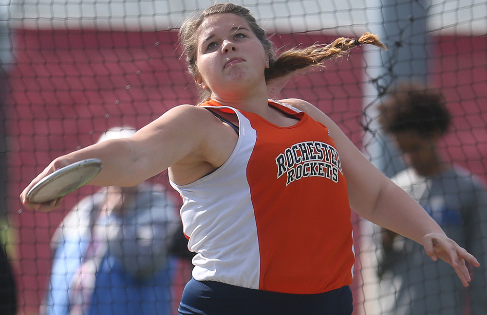 Rochester High School's Lindsay Alewelt shows off her form en route to coming in third overall in the discus with a throw of 104-02.00 feet. David Spencer/The State Journal-Register