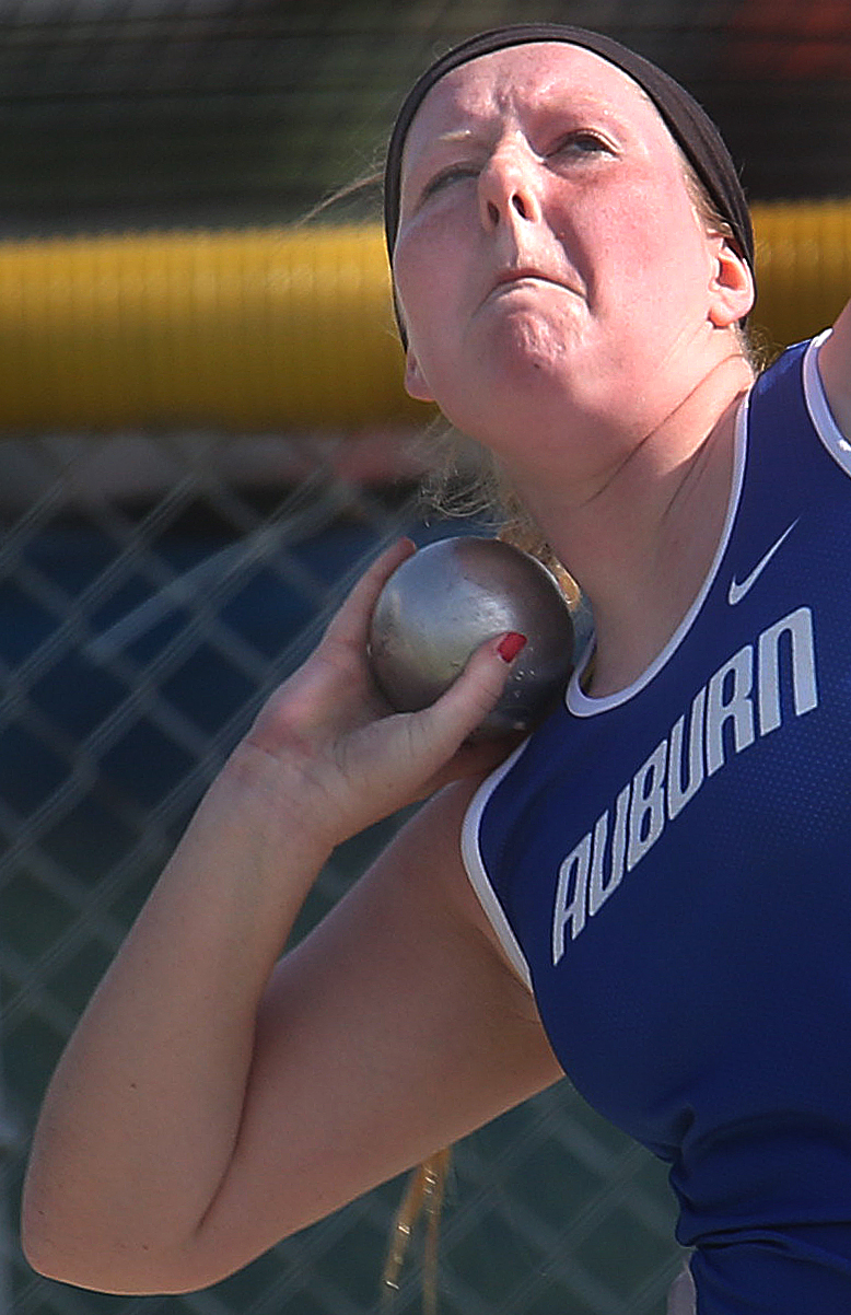 Auburn's Katelyn Gonterman shows her form in route to winning the girls shot put event on Friday. David Spencer/The State Journal-Register
