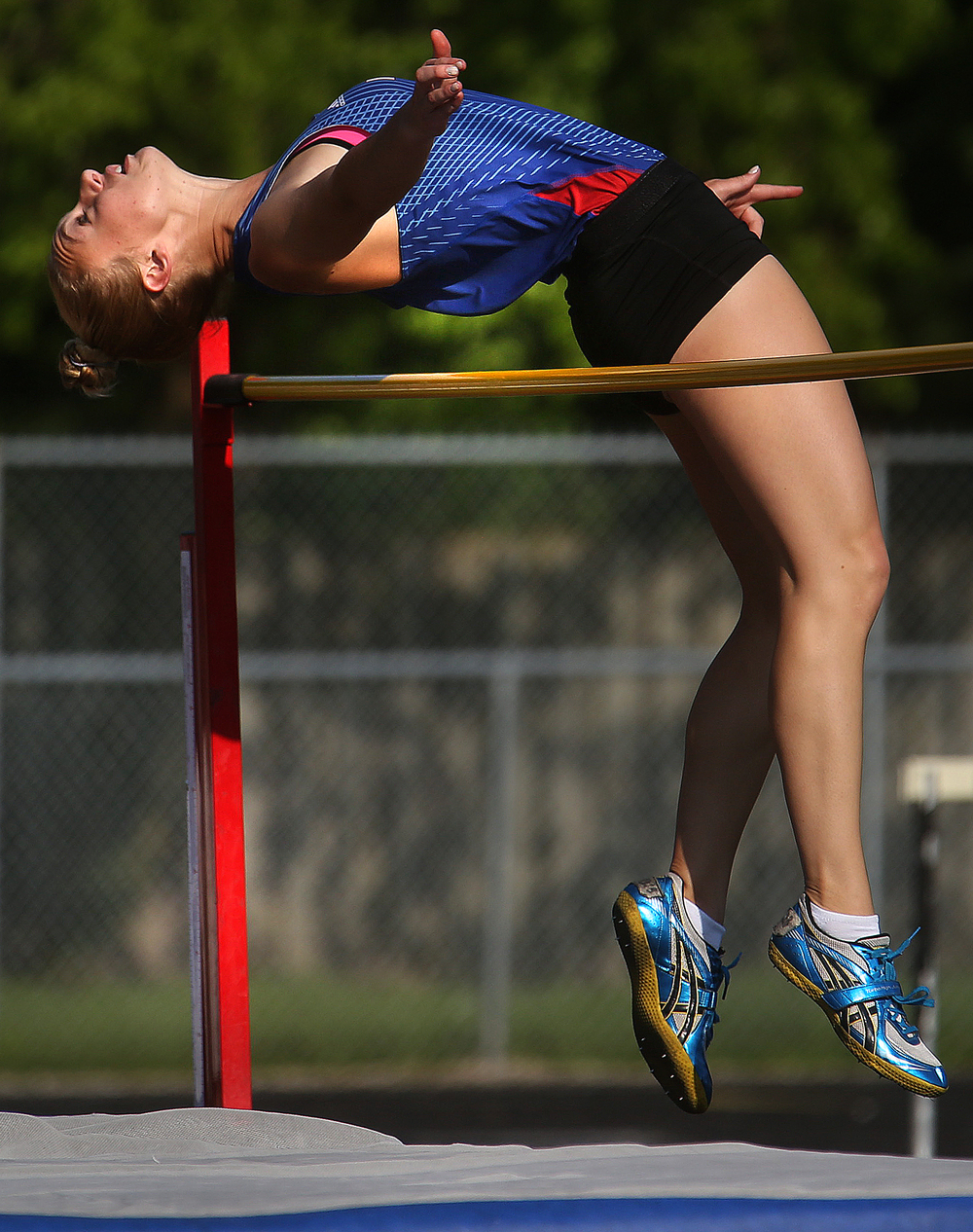 "Pleasant Plains high jumper Hope Tewes cleared 5' 5"" to win the event Friday. David Spencer/The State Journal-Register"