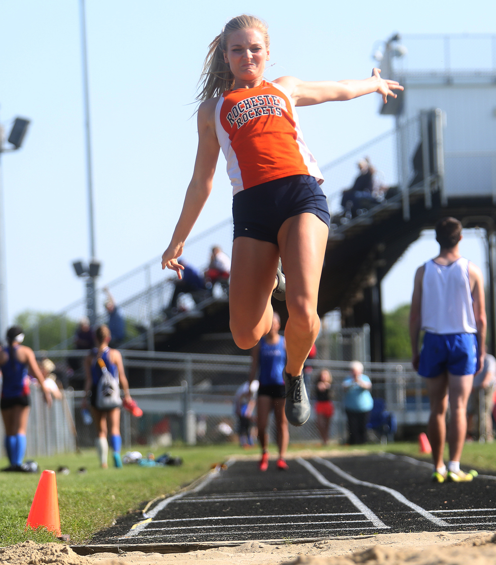 Rochester's Hailey Hollinshead shows off her form in the girls long jump event Friday. Hollinshead came in second in the event which was won by Pleasant Plains' Amber Clouser. David Spencer/The State Journal-Register