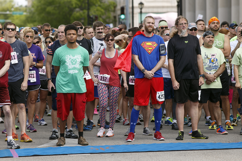 The front of the pack at the the Fat Ass 5K in downtown Springfield waits for the start of the race Saturday, May 7, 2016. Ted Schurter/The State Journal-Register
