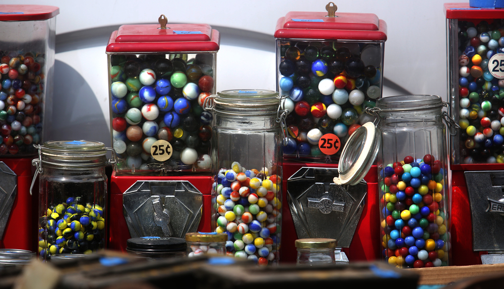 Vintage bubble gum dispensers filled with large marbles were priced at $50.00. David Spencer/The State Journal-Register