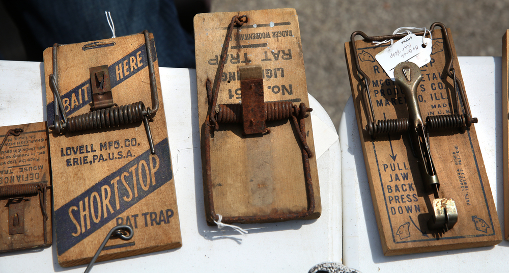 Vintage wood spring-loaded rat traps where priced from between $5.00 and $20.00 by one vendor. David Spencer/The State Journal-Register
