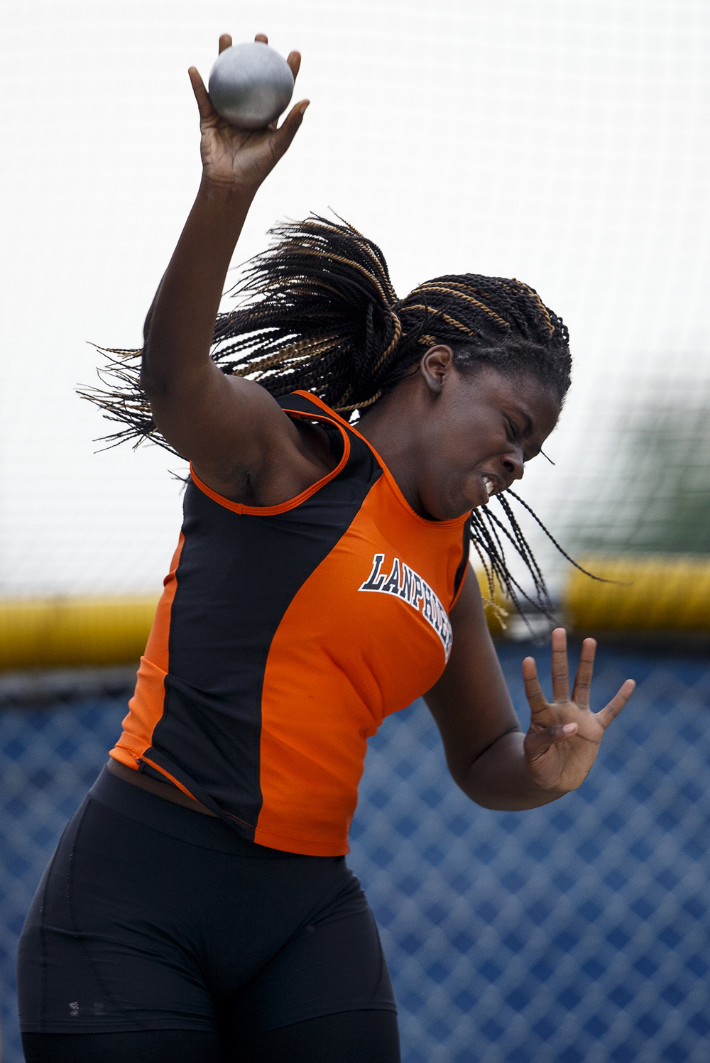 Lanphier's Nia Tiller competes in the shot put during the Class 2A girls sectional track meet at Rochester High School Friday, May 13, 2016. Ted Schurter/The State Journal-Register