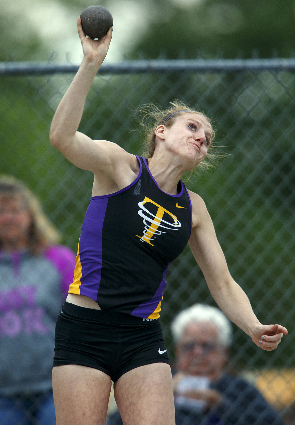 Taylorville's Natalie Snyder won the shot put during the Class 2A girls sectional track meet at Rochester High School Friday, May 13, 2016. Ted Schurter/The State Journal-Register