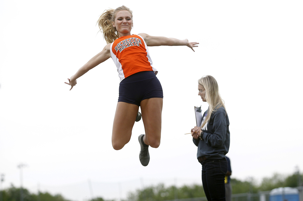Rochester's Hailey Hollinshead won second place during the Class 2A girls sectional track meet at Rochester High School Friday, May 13, 2016. Ted Schurter/The State Journal-Register