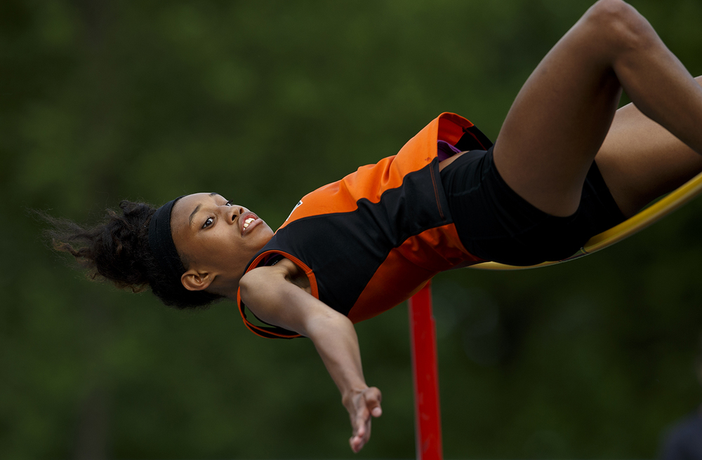 Lanphier's Brianna Johnson cleared 5-1 to advance to the state meet during the Class 2A girls sectional track meet at Rochester High School Friday, May 13, 2016. Ted Schurter/The State Journal-Register