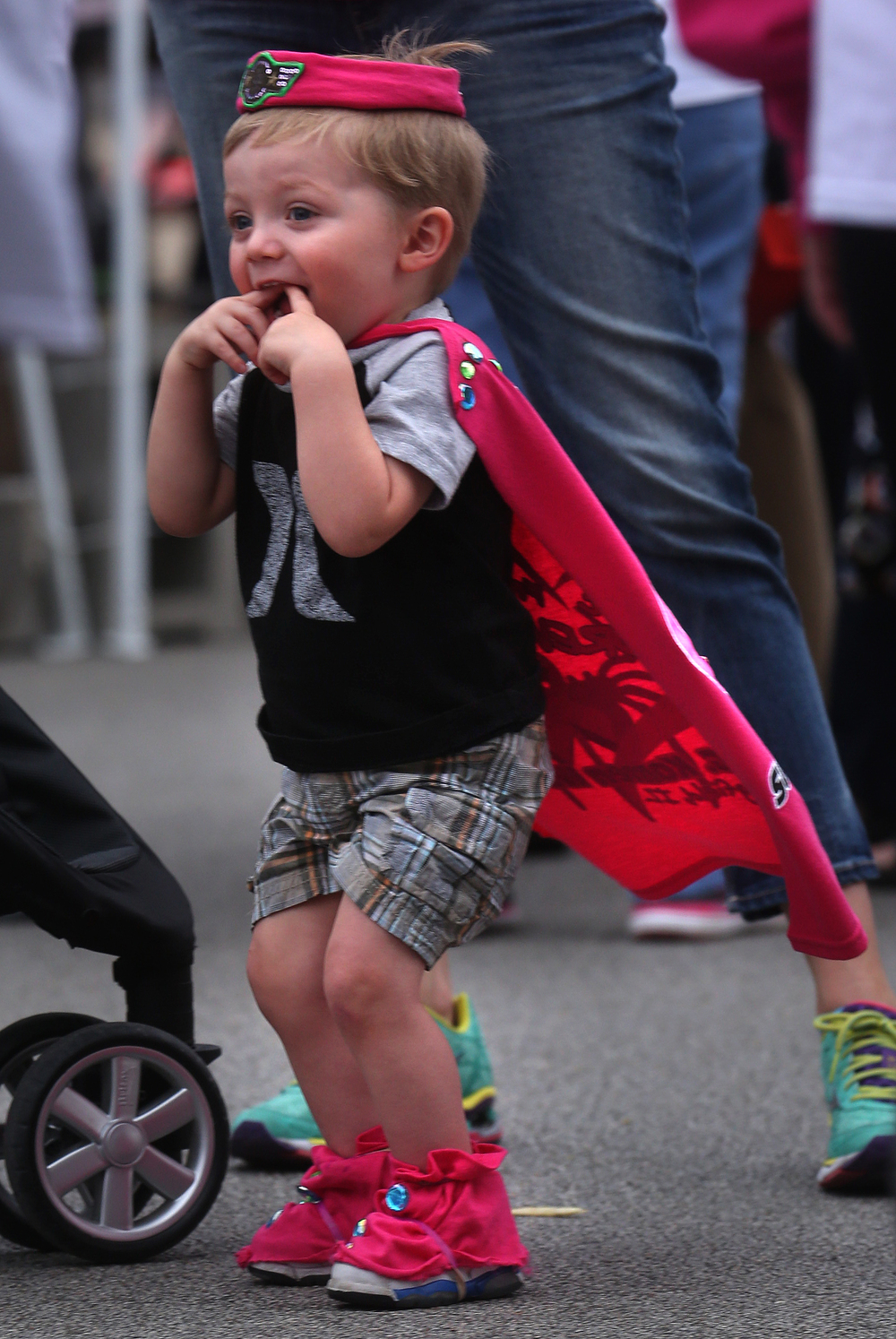 Logan Golembeck, 2, was a miniature super hero complete with cape and hat Friday night. David Spencer/The State Journal-Register