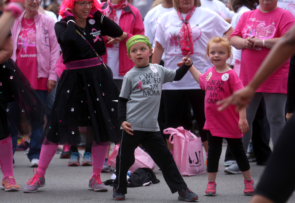 "Some of the youngest race participants limbered up to the Bee Gees hit ""Staying Alive"" before the start of the race. David Spencer/The State Journal-Register"