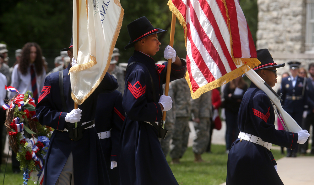 Lincoln's Challenge Academy cadets presented the Colors at the beginning of the ceremony Saturday. David Spencer/The State Journal-Register