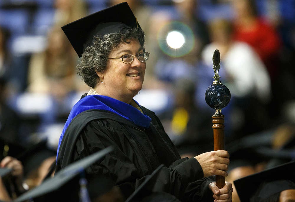 Lynn Fisher serves as the Grand Marshal for the Processional during the University of Illinois Springfield's 45th annual Commencement Ceremony at the Prairie Capital Convention Center Saturday, May 14, 2016. Ted Schurter/The State Journal-Register