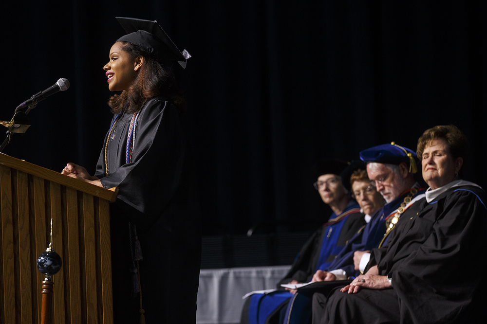 Robyn Nicole Crutchfield delivers the student commencement address during the University of Illinois Springfield's 45th annual Commencement Ceremony at the Prairie Capital Convention Center Saturday, May 14, 2016. Ted Schurter/The State Journal-Register