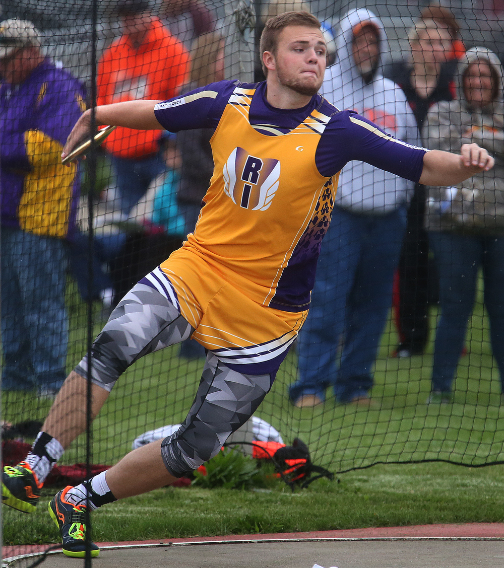Rushville's Manning Plater won the discus event with this throw of 165-04 feet on Monday. David Spencer/The State Journal-Register