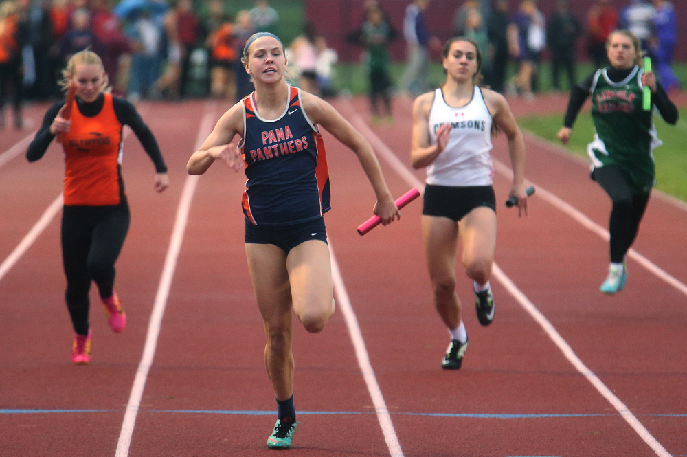 In the girls 4 x100 meter relay, Pana won with anchor Sydney Maton in front breaking the tape in 51.99 seconds. David Spencer/The State Journal-Register