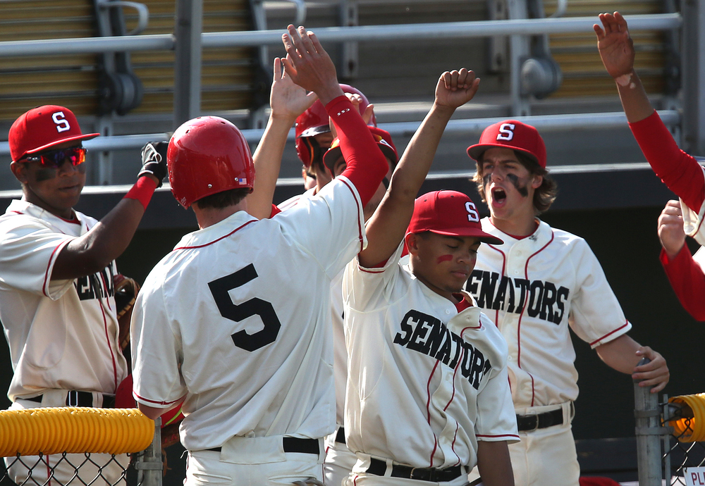 In second inning action, Springfield baserunner Austin Alderman, #5, is welcomed home by his teammates for the Senators first run of the game. David Spencer/The State Journal-Register