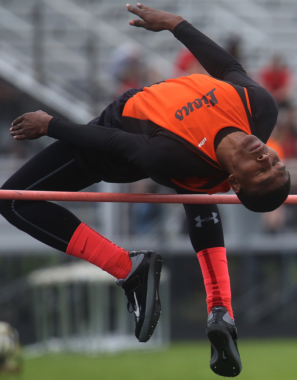 In the high jump, Lanphier's A'Jonte Lee cleared 6-03.00 feet but came in second to teammate Kendrick Griffin who won the event at the same height but needed fewer jumps. David Spencer/The State Journal-Register