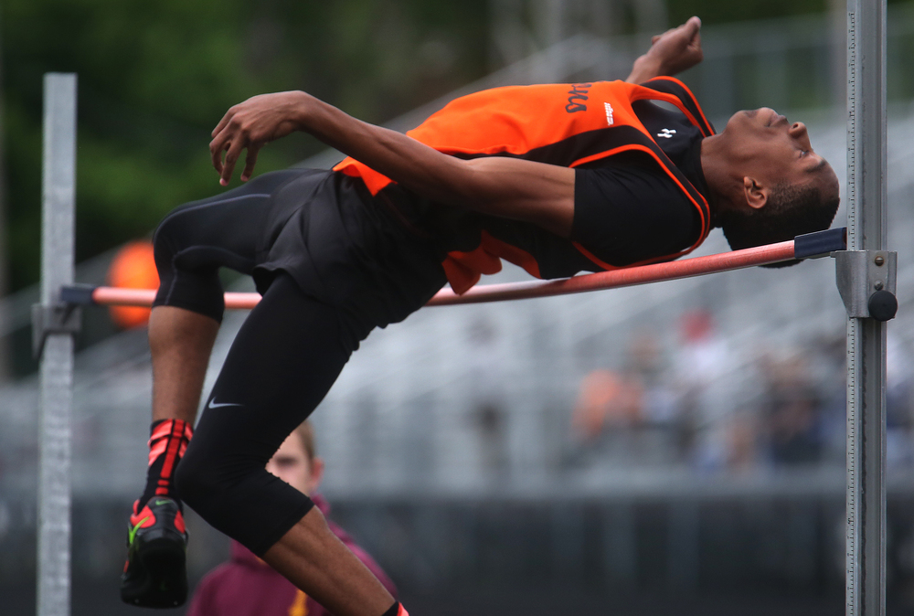 In the high jump, Lanphier's Kendrick Griffin prepares to clear 6-03.00 feet, which earned him first place in the event. David Spencer/The State Journal-Register
