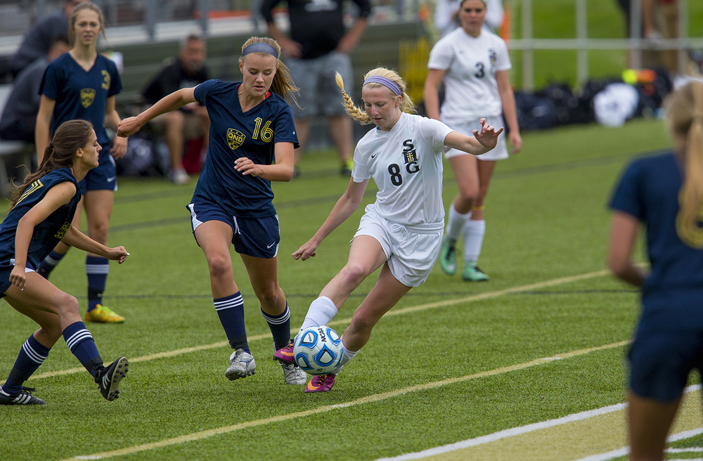 Sacred Heart-Griffin's Macy Vorreyer dribbles the ball upfield against Qunicy Notre Dame during the Class 1A girls sectional soccer at Sacred Heart-Griffin Friday, May 20, 2016. Ted Schurter/The State Journal-Register