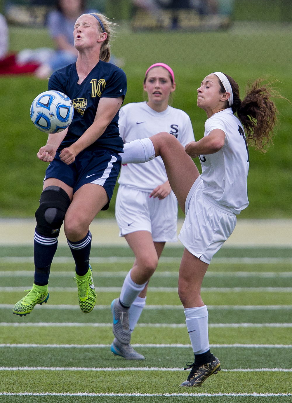 Qunicy Notre Dame's blocks the ball from Sacred Heart-Griffin's Ashleigh Cearlock during the Class 1A girls sectional soccer at Sacred Heart-Griffin Friday, May 20, 2016. Ted Schurter/The State Journal-Register