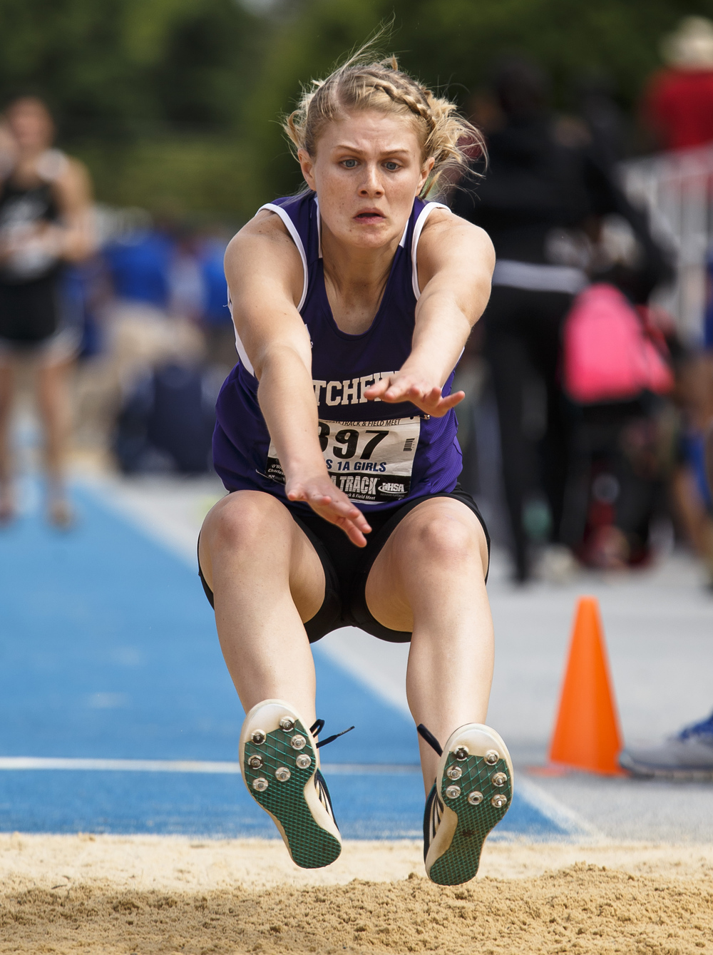Litchfield's Bryn Guthrie hits the sand while competing in the Class 1A Long Jump during the 2016 IHSA Girls State Track and Field Meet at O'Brien Stadium, Saturday, May 21, 2016, in Charleston, Ill. Guthrie finished in second with a jump of 17-05.00. Justin L. Fowler/The State Journal-Register