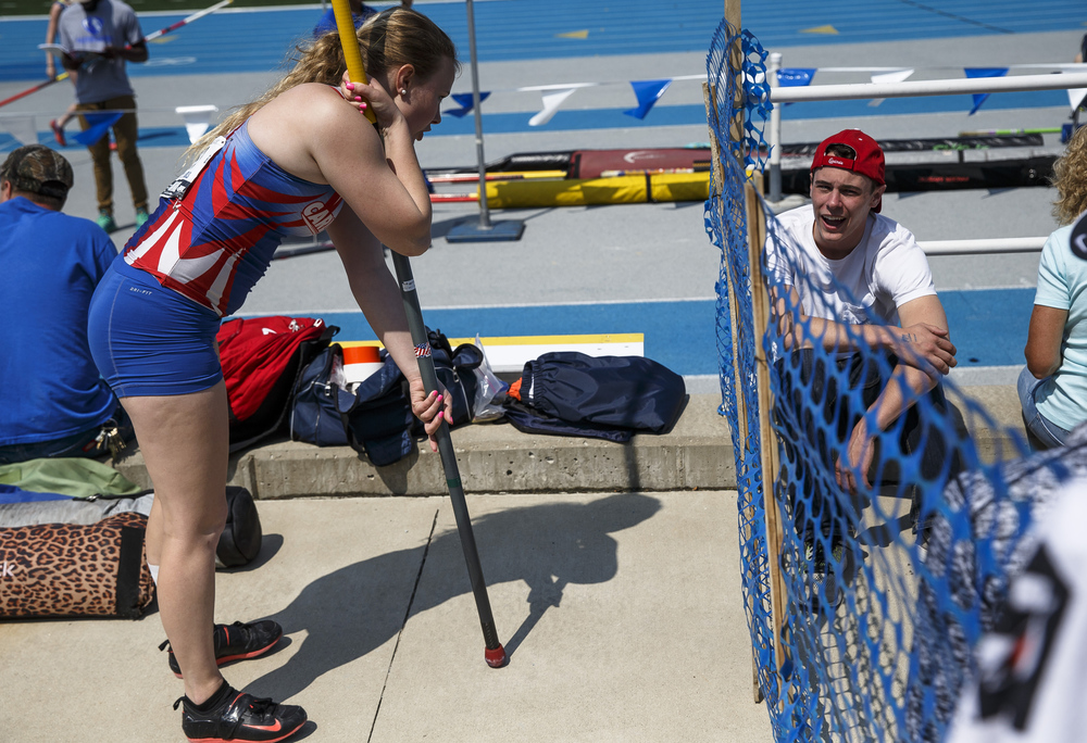 Carlinville's Katie Denby gets some sideline coaching from her brother, former Carlinville pole vaulter Jack Denby, while competing in the Class 1A Pole Vault during the 2016 IHSA Girls State Track and Field Meet at O'Brien Stadium, Saturday, May 21, 2016, in Charleston, Ill. Justin L. Fowler/The State Journal-Register