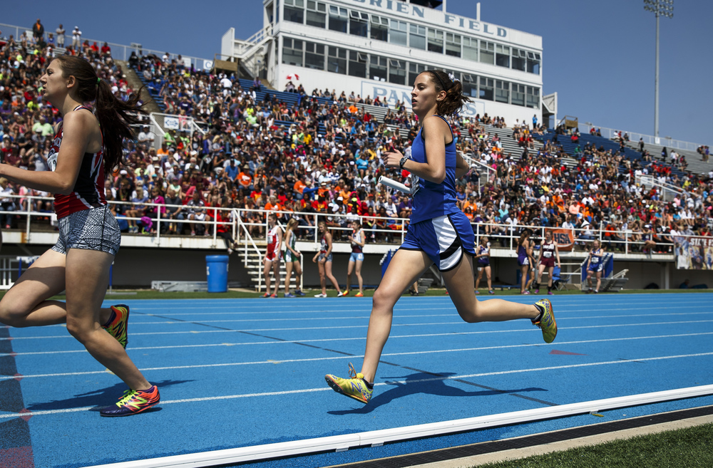 PORTA's Katherine Pickerill runs the second leg of the Class 1A 4x800-Meter Relay during the 2016 IHSA Girls State Track and Field Meet at O'Brien Stadium, Saturday, May 21, 2016, in Charleston, Ill. PORTA finished 11th with a time of 10:08.00. Justin L. Fowler/The State Journal-Register