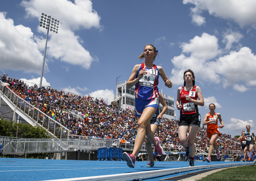 Carlinville's Colleen Madden finished 2nd in the Class 1A 3200-Meter Run with a time of 11:07.46 during the 2016 IHSA Girls State Track and Field Meet at O'Brien Stadium, Saturday, May 21, 2016, in Charleston, Ill. Justin L. Fowler/The State Journal-Register