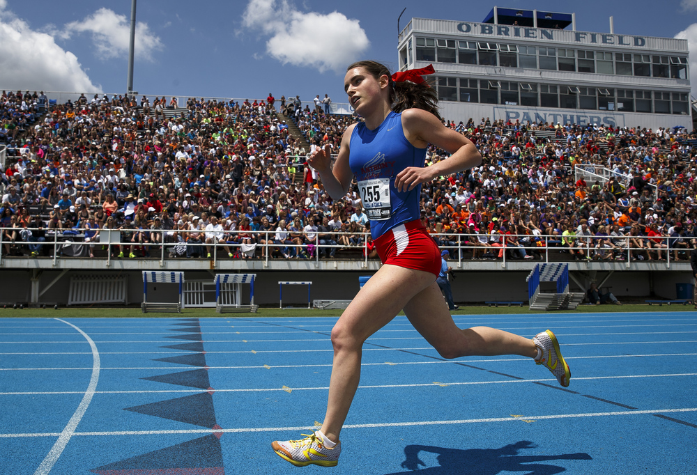 St. Anthony's Anna Sophia Keller heads to finish line with a massive lead to win the Class 1A 3200-Meter Run witha  time of 10:32.16 during the 2016 IHSA Girls State Track and Field Meet at O'Brien Stadium, Saturday, May 21, 2016, in Charleston, Ill. Justin L. Fowler/The State Journal-Register