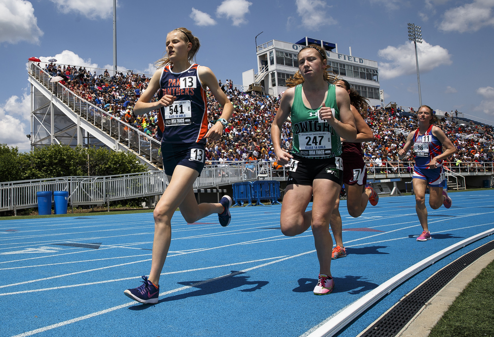 Pana's Claudia Magnussen, left, finished 3rd in the Class 1A 3200-Meter Run with a time of 11:09.71 during the 2016 IHSA Girls State Track and Field Meet at O'Brien Stadium, Saturday, May 21, 2016, in Charleston, Ill. Justin L. Fowler/The State Journal-Register