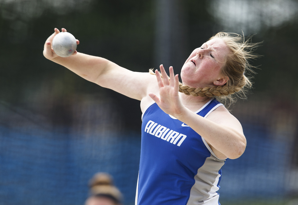 Auburn's Katelyn Gonterman competes in the Class 1A Shot Put during the 2016 IHSA Girls State Track and Field Meet at O'Brien Stadium, Saturday, May 21, 2016, in Charleston, Ill. Gonterman finished 5th with a put of 41-06.50. Justin L. Fowler/The State Journal-Register
