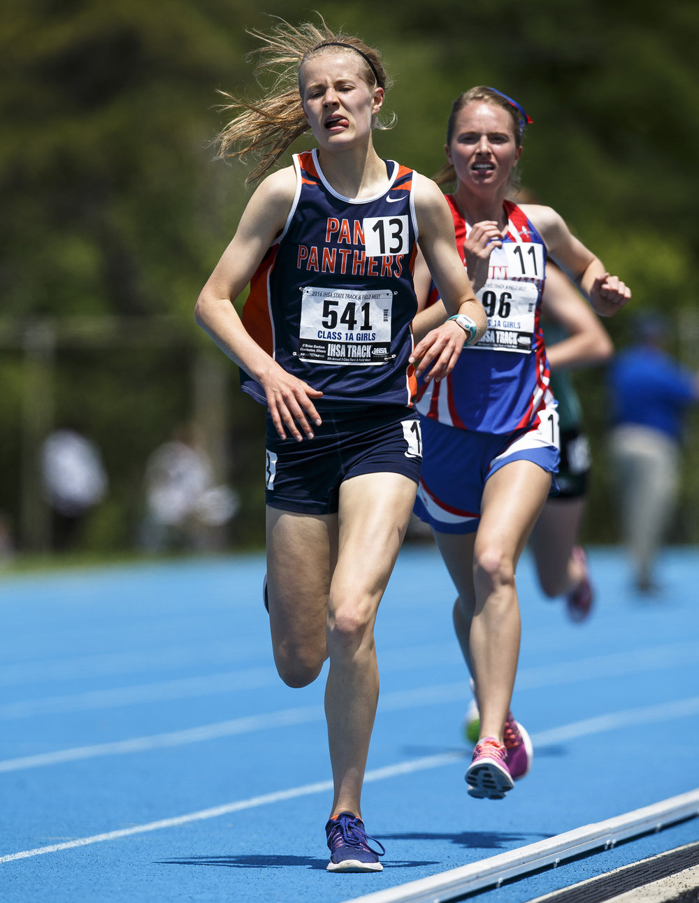 Pana's Claudia Magnussen and Carlinville's Colleen Madden fight it out on the front stretch in the closing laps of the Class 1A 3200-Meter Run during the 2016 IHSA Girls State Track and Field Meet at O'Brien Stadium, Saturday, May 21, 2016, in Charleston, Ill. Justin L. Fowler/The State Journal-Register