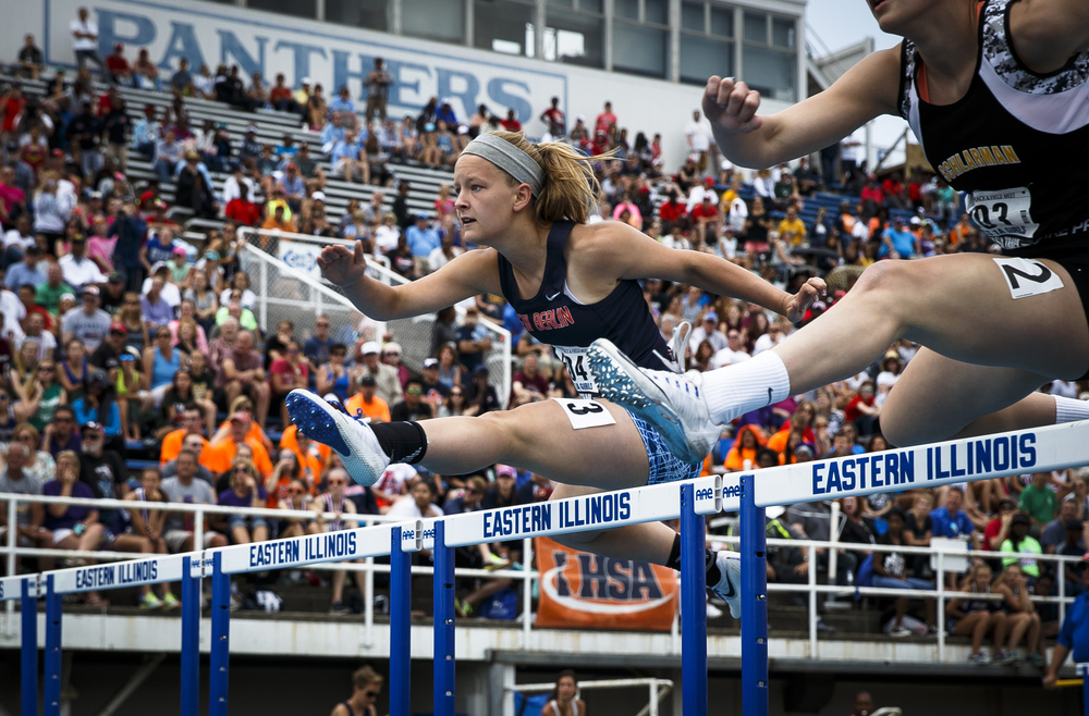 New Berlin's Alyssa Vignos finished 7th with a time of 15.38 in the Class 1A 110-Meter High Hurdles during the 2016 IHSA Girls State Track and Field Meet at O'Brien Stadium, Saturday, May 21, 2016, in Charleston, Ill. Justin L. Fowler/The State Journal-Register