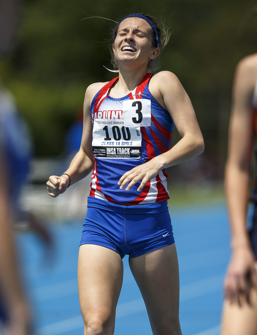 Carlinville's Jacey Roper reacts after finishing 5th with a time of 2:18.65 in the Class 1A 800-Meter Run during the 2016 IHSA Girls State Track and Field Meet at O'Brien Stadium, Saturday, May 21, 2016, in Charleston, Ill. Justin L. Fowler/The State Journal-Register