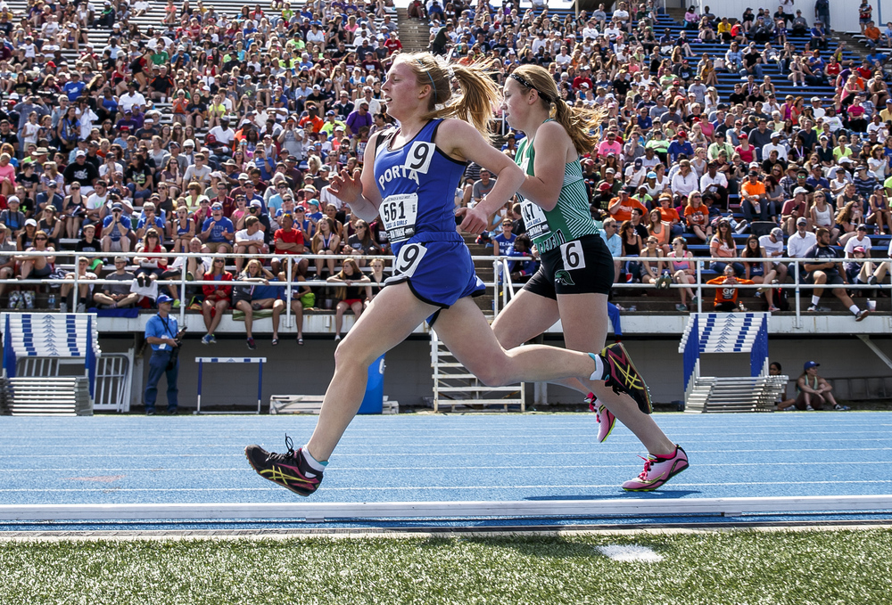 PORTA's Maria Brauer moves up to third heading into the final lap of the Class 1A 1600-Meter Run during the 2016 IHSA Girls State Track and Field Meet at O'Brien Stadium, Saturday, May 21, 2016, in Charleston, Ill. Brauer finished second with a time of 5:11.37. Justin L. Fowler/The State Journal-Register