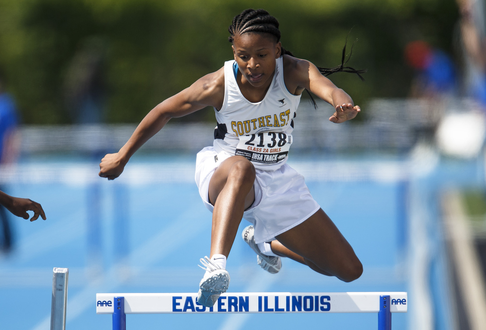 Southeast's Dontavia Howard finished 5th with a time of 45.24 in the Class 2A 300-Meter Hurdles during the 2016 IHSA Girls State Track and Field Meet at O'Brien Stadium, Saturday, May 21, 2016, in Charleston, Ill. Justin L. Fowler/The State Journal-Register