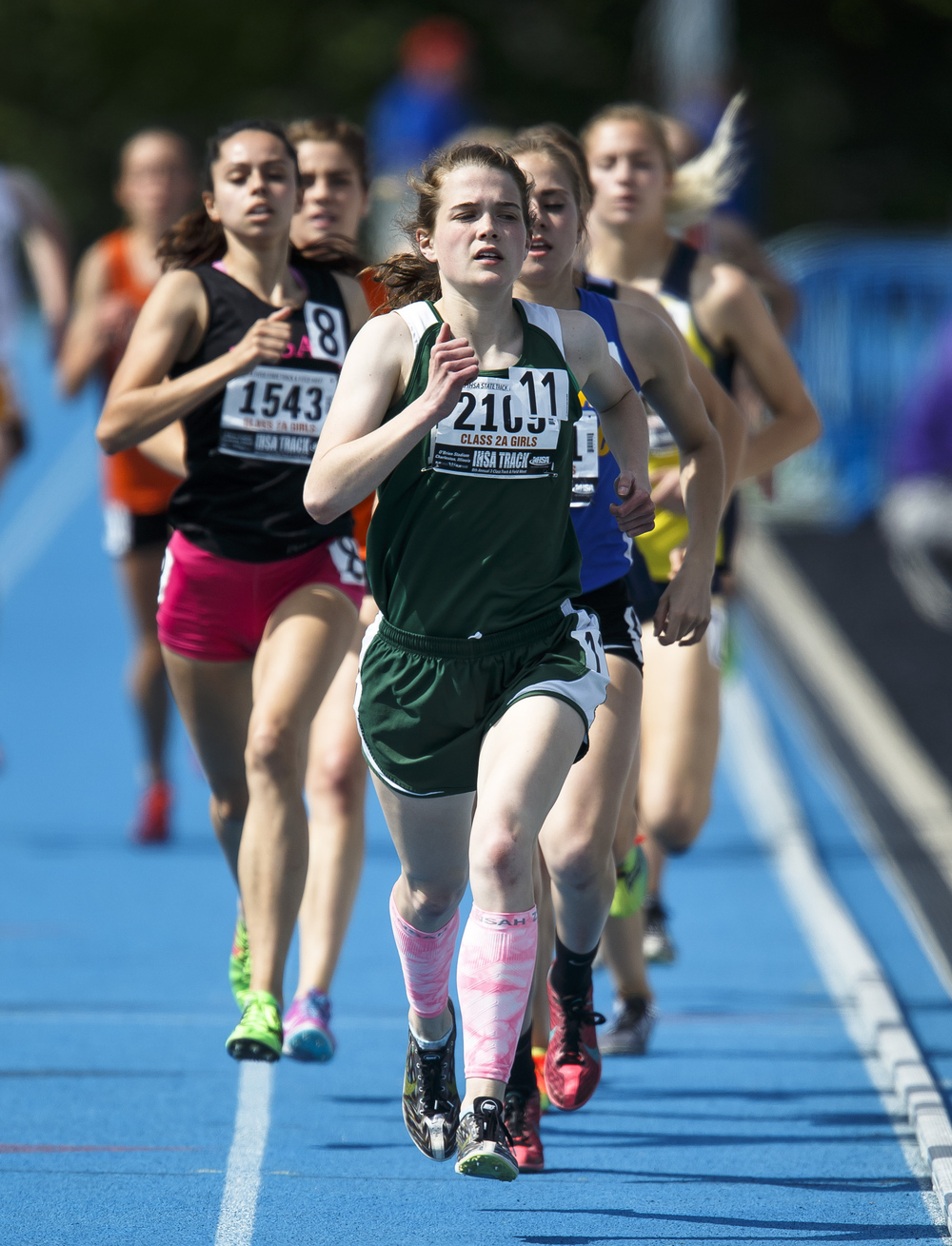 Boylan Catholic's Delaney Appino leads the pack down the track in the opening laps of the Class 2A 1600-Meter Run during the 2016 IHSA Girls State Track and Field Meet at O'Brien Stadium, Saturday, May 21, 2016, in Charleston, Ill. Appino finished 5th with a time of 5:03.61. Justin L. Fowler/The State Journal-Register