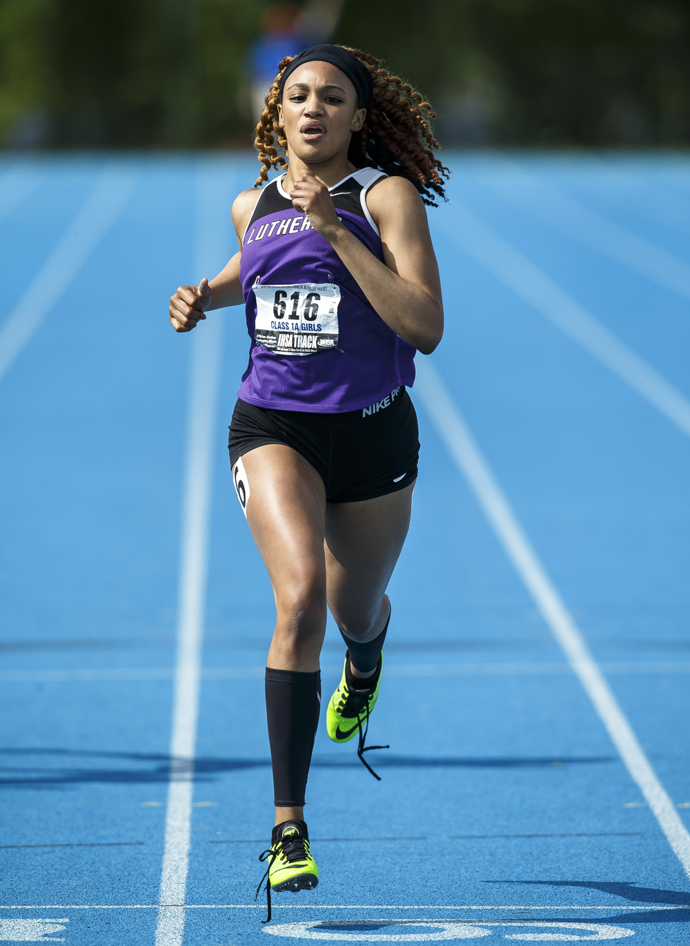 Rockford Lutheran's Courtney Sockwell comes into the finish line to win the Class 1A 200-Meter Dash, with her shoelaces untied, with a time of 25.06 during the 2016 IHSA Girls State Track and Field Meet at O'Brien Stadium, Saturday, May 21, 2016, in Charleston, Ill. Justin L. Fowler/The State Journal-Register