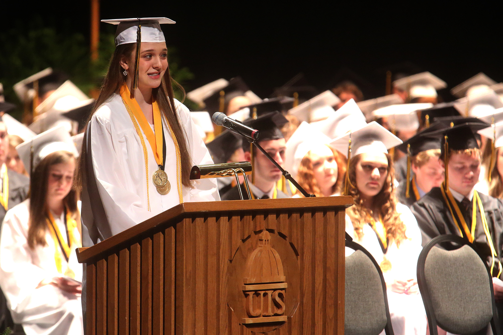Salutatorian Anna Benoit spoke on Sunday. David Spencer/The State Journal-Register