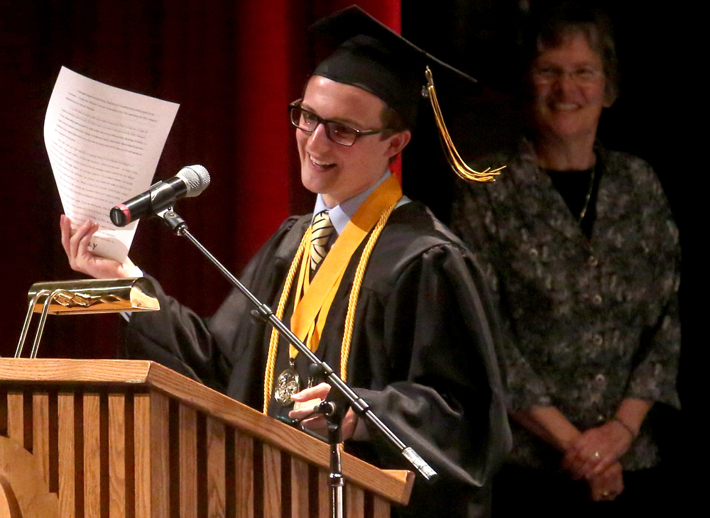 "Among other things, Valedictorian Louis Connelly, quoting Russian cultural-historical psychology founder Lev Vygotsky, challenged his classmates to embrace the following quote attributed to Vygotsky : ""Through others we become ourselves"", during his speech Sunday. David Spencer/The State Journal-Register"