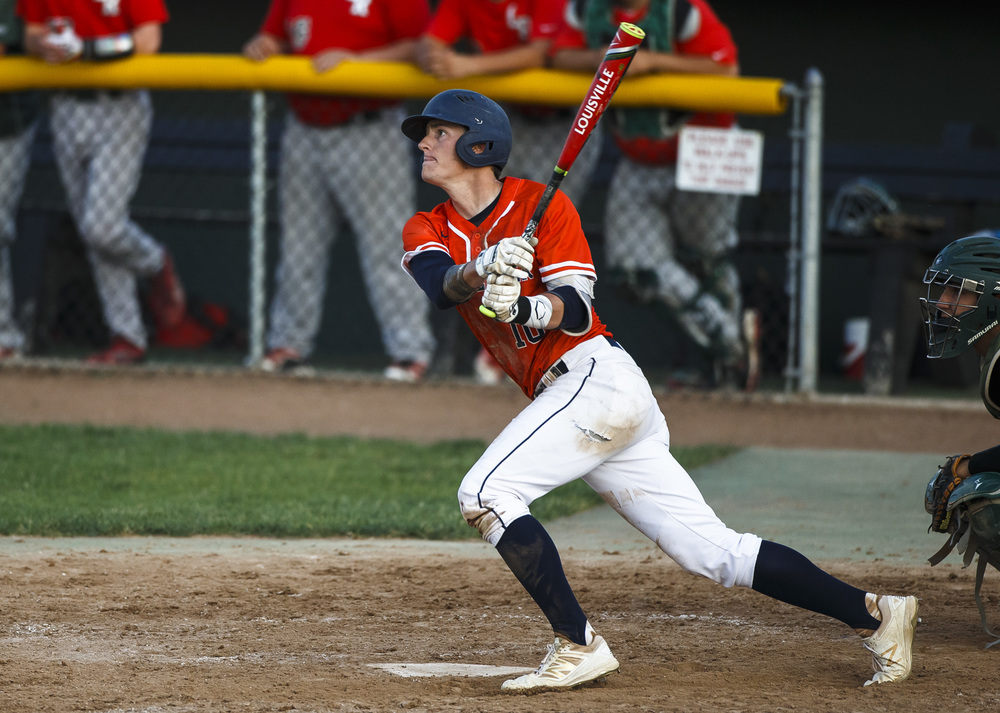 Rochester's Tyler Fitzgerald (10) looks up at a home run ball to tie the game in the 5th inning against Lincoln during the Class 3A Springfield Regional Semifinals at Robin Roberts Stadium, Wednesday, May 25, 2016, in Springfield, Ill. Justin L. Fowler/The State Journal-Register