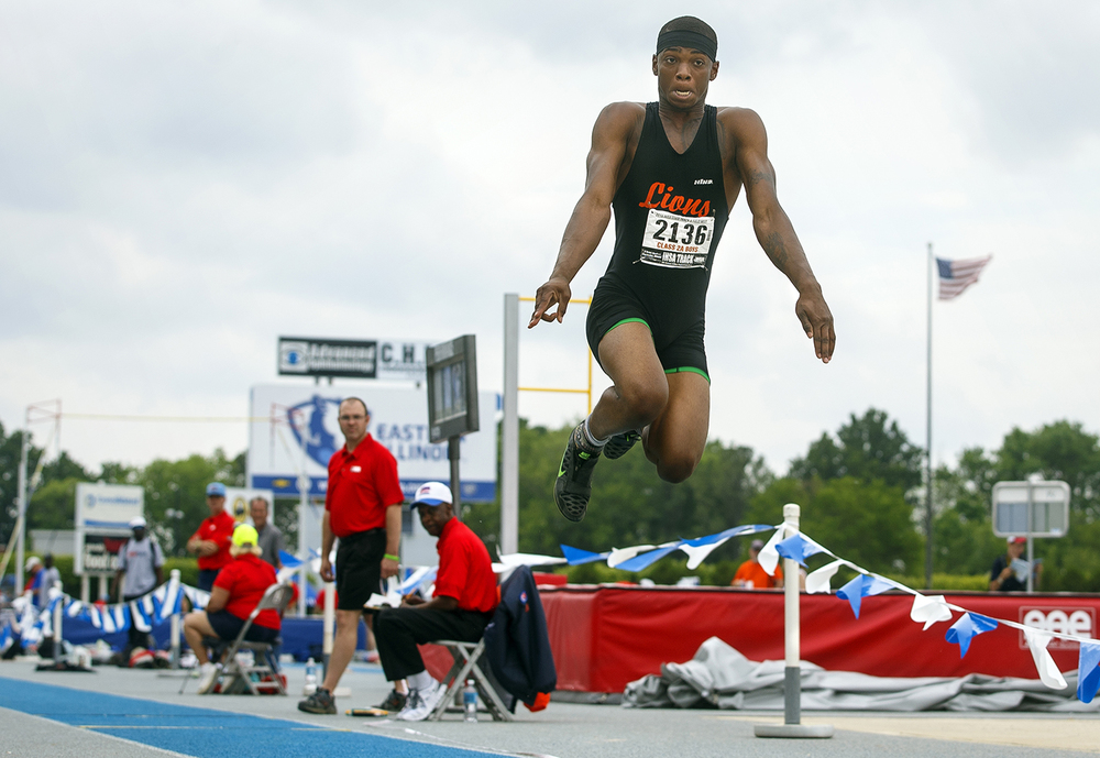 Lanphier's Rudy Ester finished fifth in the long jump with a best effort of 45-11.75 during the IHSA Track and Field State Finals at O'Brien Stadium in Charleston, Ill., Saturday, May 28, 2016. Ted Schurter/The State Journal-Register
