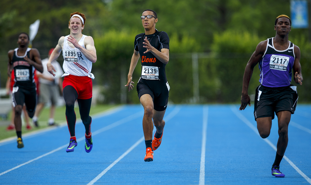 Lanphier's  Dearis Herron finishes third in the 2A 400-meter dash during the IHSA Track and Field State Finals at O'Brien Stadium in Charleston, Ill., Saturday, May 28, 2016. Ted Schurter/The State Journal-Register